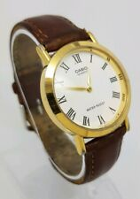 Casio MTP1091Q-9B Mens Brown Leather Gold Case Analog Casual Dress Watch A3