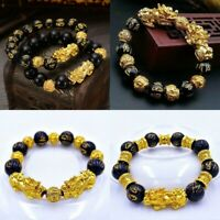 Feng Shui Black Plated Obsidian Alloy Wealth Bracelet Unisex Wristband Gold US