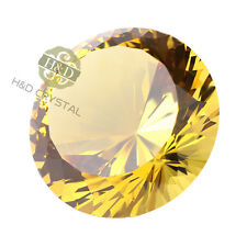 Huge Yellow Crystal Paperweight Cut Glass Giant Diamond Wedding Decor Gift 200mm