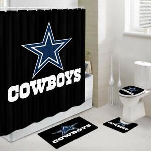 Cowboy Shower Curtains with Rug Set, Dallas Cowboys Bath Rug & Toilet Mat 4PCS