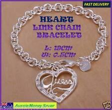 girls 925 sterling silver plat Guess Heart Love Bracelet Link chain FREE G. Bag