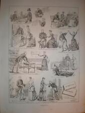 Valentine's Day S T Dadd cartoon 1886 old print