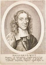 c1660 Johan de Wit  Kupferstich Portrait Iohannes de Witt