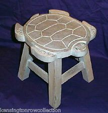 Footstools - Sea Turtle Wooden Footstool - White Wash Finish - Foot Stool