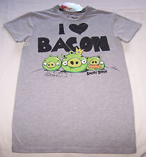 Angry Birds Bacon Mens Grey Printed T Shirt Size XS New