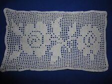 Charming Vintage Hand Crocheted Rose Fillet Crochet Doily 9 by 5