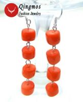 GENUINE 10mm Natural Pink Knobble Coral Dangle Earring for Women Silver hook-170