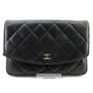 Auth CHANEL Matelasse Black Lambskin Other Style Wallet