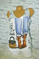 Italy New Style Shirt Top weiß Gr. 36 38 40 42 blogger Pop Art High Heels Jeans