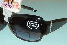 Foster Grant Women's Blk Bifocal Sun Readers Rhinestone Stems Sunglasses +2.50 8