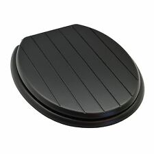 Black Wooden Bathroom Toilet Seat. Black Groove Design. Fixings Included
