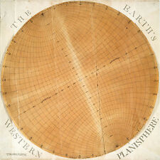 1757 Circular Map The Earths Western Planisphere Wall Poster Home School Office