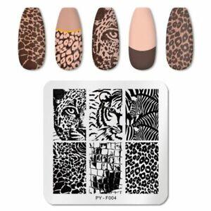 Nail Art Stamping Plates Animal Print Leopard Tiger Zebra Manicure Image Plate