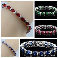 "925 Sterling Silver Dipped Sapphire Emerald Garnet Amethyst Tennis Bracelet 7"""