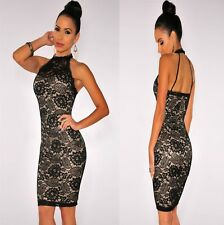 Sz 8 10 Sleeveless Black Lace Sexy Formal Bodycon Cocktail Party Slim Fit Dress