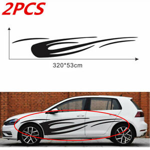 1 Pair Glossy Black Dynamic Flame Style Sticker 320x53cm Fit For Car Body Side