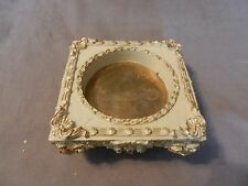 "Vintage White & Gold Resin Square Candle Holder Holds Candle up to 3.25"" dia"