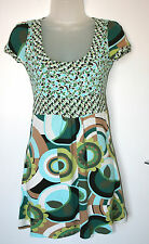 JANE NORMAN UK6 EU36 GREEN/BLUE/BROWN STRETCH JERSEY CAP-SLEEVE LONGER TOP