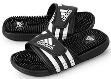 ADIDAS ADISSAGE 078260 BLACK WHITE SLIDES SANDALS FLIP FLOPS MENS SZ 11 NEW NWT