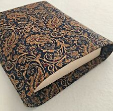 Dark Blue and Brown Paisley Book Sleeve Cover, Open Top Design, 7.5 x 9.5