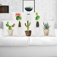 """18"""" Soft Cushion Cover Home Decor Cotton Linen Pillow Case Plant Cactus Pattern"""