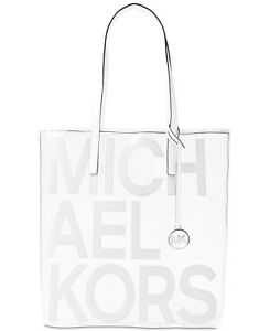 Michael Kors Large North South Transparent Tote  Bag Clear/White SEALED PACKAGE
