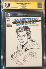 DAN JURGENS ORIGINAL Sketch Art CGC 9.8 SUPERMAN Signed JUSTICE LEAGUE not CBCS