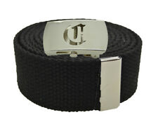 """Canvas Military Web Belt & BIG """"C"""" Silver Buckle 48, 54, 60, 72 Inches 25 Color"""