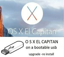 Mac o s x el capitan 10.11  on a  bootable  USB  Upgrade Recover or install