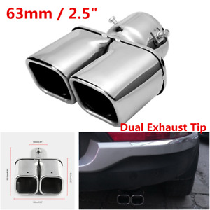 Stainless Steel Dual Auto Car Exhaust Tip Square Tail Pipe Muffler 63mm / 2.5""