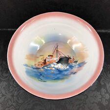 """Vintage Bumper Harvest Enamelware Pink Ship Large 14"""" Serving Bowl Enamel"""