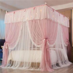 Double-deck Romantic Lace Princess Style Three-door Floor-standing Mosquito Net
