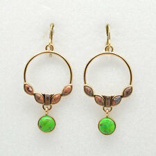 Barse Jewelry Genuine Lime Turquoise and Picture Jasper Bronze Earrings