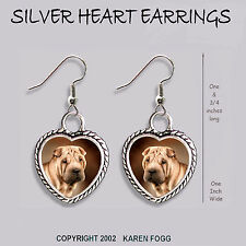 Shar Pei Dog - Heart Earrings Ornate Tibetan Silver