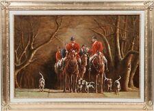Quadro pittura olio tela cornice legno argento CACCIA ALLA VOLPE INGLESE 110x80