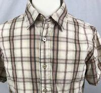 BKE Short Sleeve Shirt Mens Size Large Button Front Tan Plaid (J