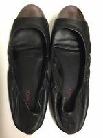 Diana Ferrari Sunset Black Leather Slip On Ballet Flats Shoes Siz 9.5 Metal Toe