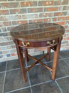 Vintage Lane End Round Table Drawer Inlaid Walnut Wood Asian/Chinoiserie 988 06