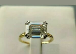 2ct Emerald Cut Diamond Engagement Ring East West Solitaire 14k Yellow Gold Over