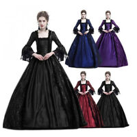 New Cosplay Gothic Women Long Dress Medieval Vintage Square Collar Party Dress