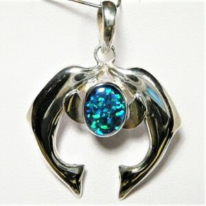 """2 DOLPHINS OPAL PENDANT TRIPLET S.SILVER 30 X 25mm 7.5GM """"NEW"""" AUZ MADE SS26"""