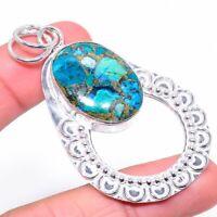 "Copper Azurite Gemstone Handmade 925 Silver Jewelry Pendant 2.68"" VK-2003"