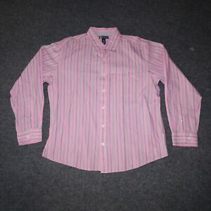 Duck Head Jeans Pink Striped Classic Mens XL Collared Button Up Dress Shirt