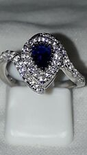 925 STERLING SILVER RHODIUM PLATED SIMULATED DIAMOND BLUE TOPAZ ENGAGEMENT RING