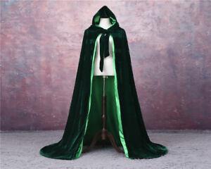 Satin Lined Emerald Green Hooded Velvet Halloween Cloak Renaissance Cape S-XXL
