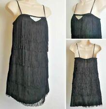 Vintage NEXT Black Flapper 20's Gatsby Fringe Strappy Hen Party Dress D3 size 12