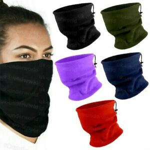 Adults Neck Warmer Face Covering Mens Ladies Fleece Snood Hat 3 In 1 Scarf