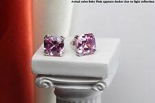 Pink Step Cut Asscher Solitaire Sterling Silver Nickel Free Stud Womens Earrings