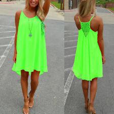 Women Neon Boho Summer Sleeveless Casual Party Mini Dress Holiday Beach Sundress