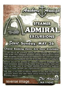 S.S. Admiral St. Louis Mo. Antique Printers Block, Newspaper Ad Dated 1963!